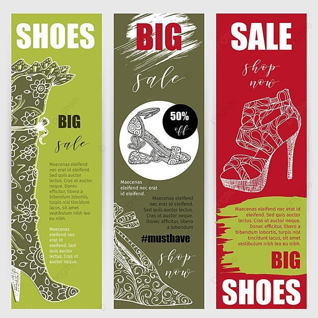 vertical flyers or banners set with fashion woman footwear template