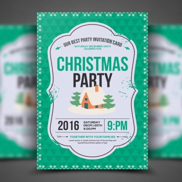 Christmas December Flyer Template, Download Tags: Bar, Bash, Christmas PNG and PSD