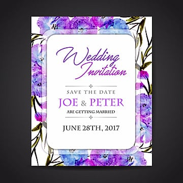 Watercolor Floral Wedding Invitation Card, Invitation Card,2017 Wedding Card,invitation Card,blue Flowers Card,floral Invitation Card,colorful Weddingcard,purple Flowers Card,wedding Vector, Watercolor Invitation Card, Watercolor Vector PNG and Vector