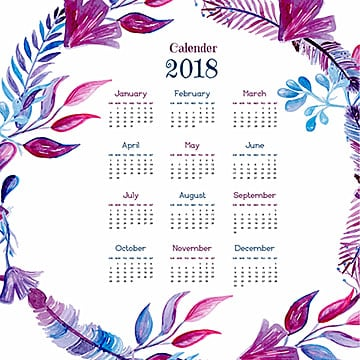Watercolor Feather Wreath Calendar, Leaf, Leaves, Flower PNG and Vector