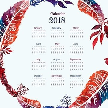 Watercolor Feather Wreath Calendar, Floral, Ornamnets, Boho PNG and Vector