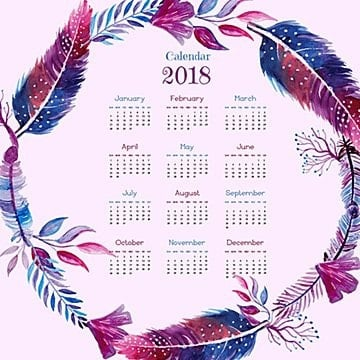 Watercolor Feather Wreath Calendar