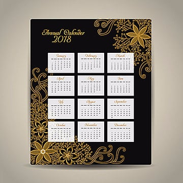 hand drawn ornamnetal calendar 2018 Template