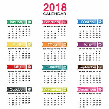Annual Calendar 2018, Hand Drawn, Design, Artisitc PNG and Vector