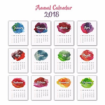Annual Watercolor Splatter Calendar 2018, Abstract, Green, Red PNG and Vector