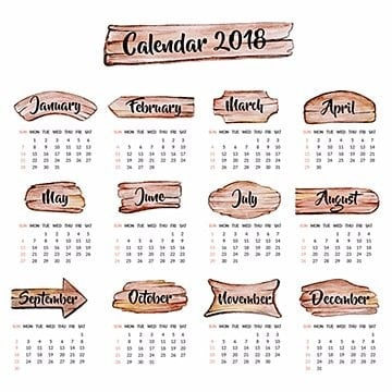 Annual Watercolor Wooden Slabs Calendar 2018