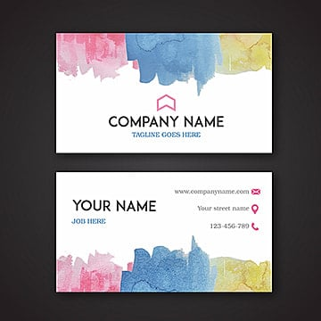 Watercolor Floral visiting Card, White, Black, Stylish PNG and Vector