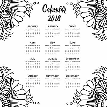 Hand Drawn Floral Annual Calendar 2018, Floral, Ornamnets, Design PNG and Vector