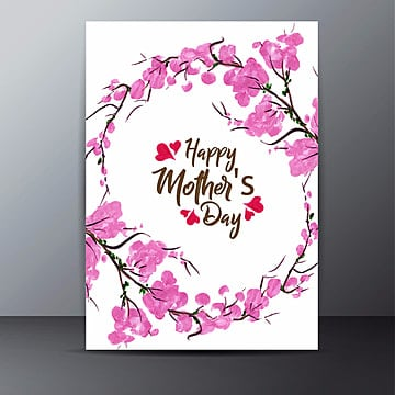 Watercolor Floral Mother's Day Card, Card, Pink, Happy PNG and Vector