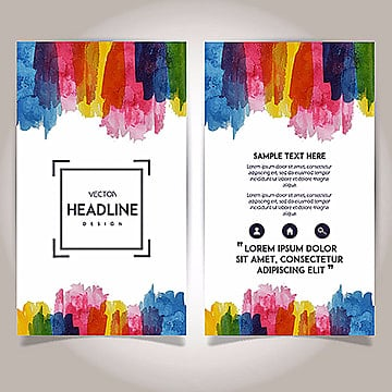Hand Drawn Watercolor Brochure Template Design, Headline, Yellow, Blue PNG and Vector
