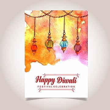 Acuarela Diwali Poster, Cartel, Plantilla, Folleto PNG y Vector
