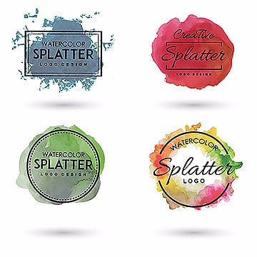Handdrawn Watercolor Splatter logo, Rectangle, Red, Green PNG and Vector