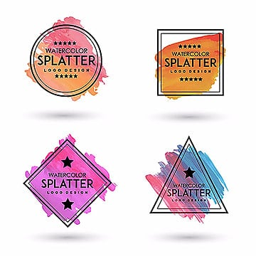 Handdrawn Watercolor Splatter logos, Circle, Annulus, Triangle PNG and Vector