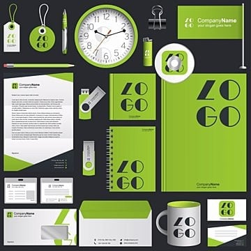 Green Stationary Branding Set, Bag, Blank, Blue PNG and Vector