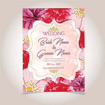 Watercolor Floral Wedding Invitation, Bride, Groom, Red PNG and Vector