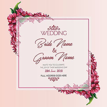 Watercolor Floral Wedding Invitation, Flowers, Pink, 2018 PNG and Vector