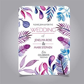 Watercolor Floral Wedding Invitation, Feather, Leaves, Celebrate PNG and Vector