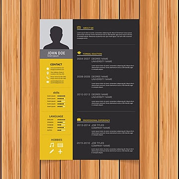 Elegant minimalistic modern vector resume or CV template designed on A4 page, easy to edit