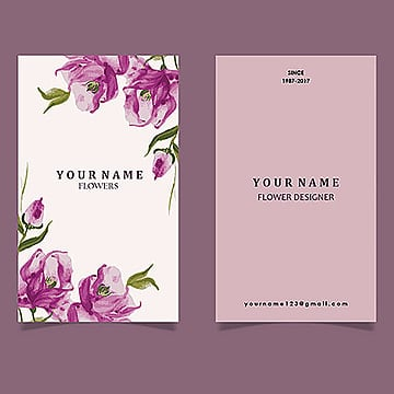 Watercolor Floral Visiting Cards, Flower, Name, Card PNG and Vector