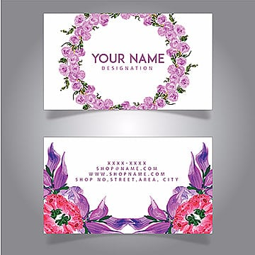Watercolor Floral Visiting Cards, Flower, Wreath, Circle PNG and Vector
