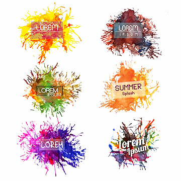 Watercolor Splatter Wedding Logo Collection, Lorem Ipsum, Template, Watercolor PNG and Vector