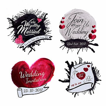 Watercolor Splatter Wedding Logo Collection, Template, Shape, Color PNG and Vector