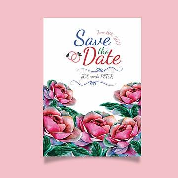 Watercolor Pink Floral Wedding Invitation Card