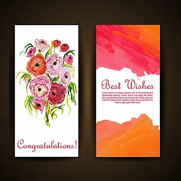 Aguarela floral cartão de saudação, Aquarela, Cor, ColoridoPNG e Vector