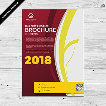 Yellow business brochure, Yellow, Red, Business PNG and Vector