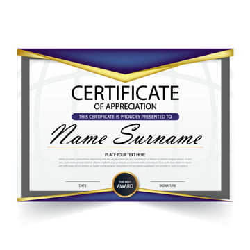 Elegance horizontal certificate with Vector illustration ,white frame certificate template with clean and modern pattern presentation