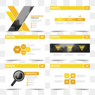 ํำ amarillo plantillas de presentación infografía elementos diseño plano conjunto