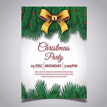Merry Christmas Vector Party Poster, Bowknot, Leaves, Green PNG and Vector