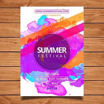 watercolor summer festival flyer Template