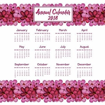 Watercolor Pink Floral Annual Calendar 2018, Calendar, Annual, School PNG and Vector