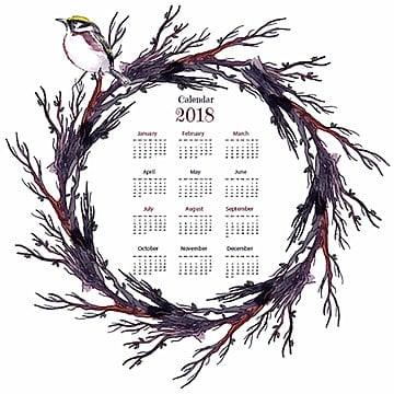 Watercolor Wooden Branch Wreath Annual Calendar 2018, Calendar, Annual, School PNG and Vector
