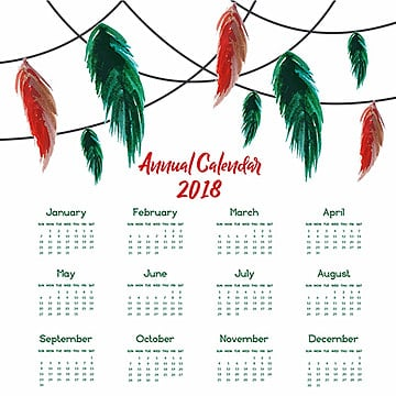Watercolor Feather Calendar, Floral, Ornamnets, Boho PNG and Vector