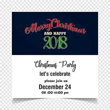 Merry Christmas. Happy New Year. Christmas party invitation card with blue and white background and colorful creative typography