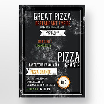 Pizza Restaurant Flyer template, Menu, Flyer, Restaurante  PNG y PSD