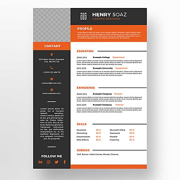 Creative Resume Template Cv Infographic Display Advertising PNG And PSD