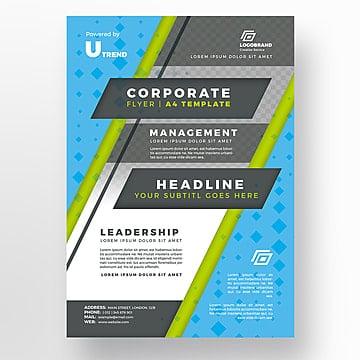 Blue corporate flyer template, Brochura, Design, FlyerPNG e PSD
