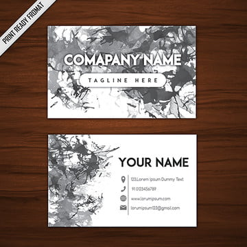 Black and White Ink Splatters Business Card Template