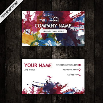 Coloful Watercolor Splatters Business Card Template