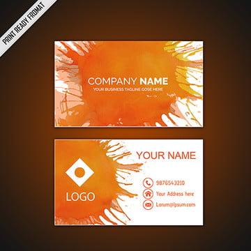 Orange Watercolor Splatters Business Card Template