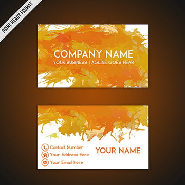 Orange and Yellow Watercolor Splatters Business Card Template