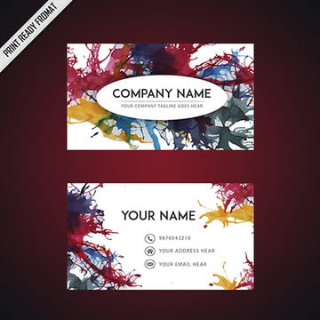 Colorful Ink Watercolor Splatters Business Card Template