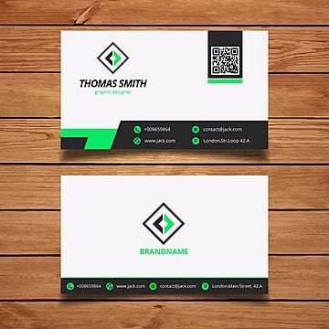 Green an white business card template