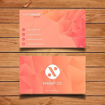 Orange poly business card template