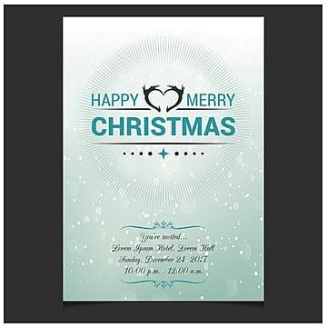 Christmas invitation card blue