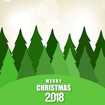 Christmas card with green trees