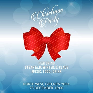 Christmas invitation banner with red bow